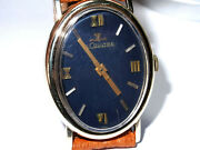 1975 Oval Lecoultre 14k Gold Manual Wind Collectible Watch Retro Royal Blue Dial