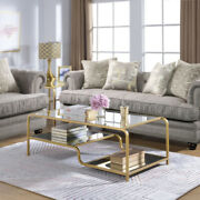 Saltoro Sherpi Metal Frame Mirrored Coffee Table With Tiered Shelves Gold And