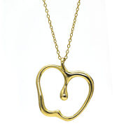 And Co. Elsa Peretti Large Apple Pendant Necklace 18k Yellow Gold 30 Long