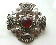 Real Vintage 925 Silver Gothic Cross/cruciform Knights Templar Pendant And Brooch