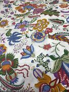 Duralee White Paisley Floral Jacobean Fabric Jewel Tones 4y X 56 F2 Flower