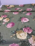 Cranston Green Rose Fabric Over 5 Y Polished Cotton Pink Yellow Rose Cottage F4