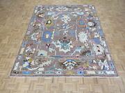 7and03911 X 9and03911 Hand Knotted Chocolate Brown Colorful Oushak Oriental Rug G10939