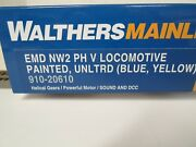 Walthers Emd Nw2 Phase V Locomotive Pnt Blue And Yellow Unlettered W/ Esu Dcc/snd