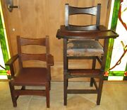 Rare Antique Limbert Mission Arts And Crafts Oak High Chair And Childs Chair