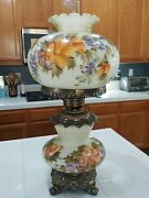 Antique Vintage Gwtw Hurricane Gone With The Wind Lamp Hand Painted Flowers
