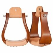 Tough 1 Solid Hardwood Horse Bell Stirrups Pair Oil Lacequer Finish W/ 3 Neck U