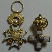 3978 Two Small Solid Gold Enamels Medals Spanish Army Health Artillery 1900