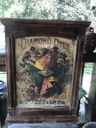 Vtg C. 1890 Diamond Dyes Andldquo Evolution Of Womanandrdquo Country Store Dye Cabinet