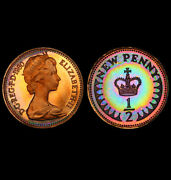 Pr67rb 1980 Great Britain 1/2 Half Penny Pcgs Secure- Rainbow Toned Proof