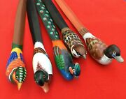 """Vintage Hand-painted Wooden Duck Letter Openers 8"""" •set Of 5 •euc •duck•peacock"""