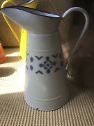 Vintage French Enamelware White With Blue Deco Body Pitcher.