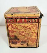 Antique Vtg Liptons Tea Tin Can Container With Lid Paper Lipton Tea