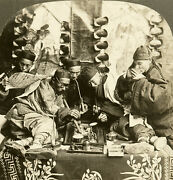 Keystone Stereoview Of Five Men In An Opium Den, Canton, China 1920's 14565 Exc