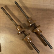 Antique Rare Pair, Instrument Makers 22 Mahogany Turn Screw Woodwork Clamps