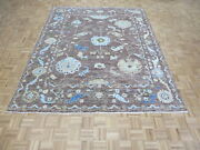 8 X 10 Hand Knotted Chocolate Brown Colorful Turkish Oushak Oriental Rug G10954