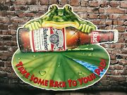 1995 Budweiser Anheuser-busch Frog Take Some Back To Your Pad Metal Beer Sign