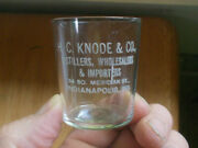 Knode And Co Distillers Address Indianapolis Etched Pre Pro Adv Whiskey Shot Glass