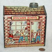 Vtg 1950s Towles Log Cabin Syrup Advertising Tin Frontier Series Stockade School