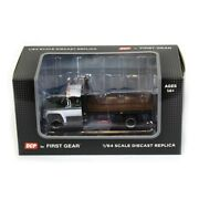 1/64 White And Green Chevy C65 Single Axle Truck With Black Flatbed By Dcp 60-1022