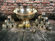 Sheridan Silver Plated 14 Footed Punch Bowl With Ladle And 18 Cups Tarnished