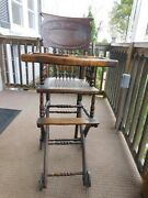 Antique Original Oak High Chair And Stroller Combination Chair, Dated 3/17/1885