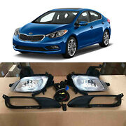 Fog Lights And Bezels Trim Assembly W/ Wiring Set For 2014 2015 2016 Kia Forte
