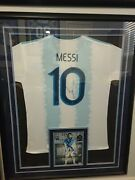 Lionel Messi Autograph Jersey Framed Argentina And Photo Signed