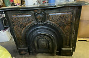 Antique Late 1800and039s Salvaged Ornate Cast Iron Fireplace Mantel W/ Arched Door