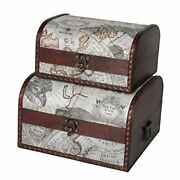First Class Wooden Storage Chest Set Of 2   Decorative Antique Wood Old Map