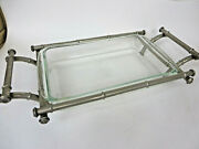 12x8 Rectangle Pyrex Clear Casserole Dish With Bamboo Style Silver Plate Carrier