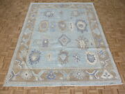 8and0393 X 10and0393 Hand Knotted Sky Blue Turkish Oushak Oriental Rug G10976