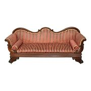 Antique English Large Chaise / Love Seat With Red Velvet Upholstery