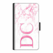 Personalised Initial Phone Case Side Monogram Pink Marble Pu Leather Flip Cover
