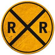 Railroad Crossing Heavy Duty Usa Made 14 Round Metal Rr Caution Warning Sign