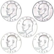 1974 P D S S S Eisenhower Dollar Year Set Silver Proof And Bu Us 5 Coin Lot