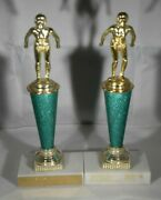 2 1977 Womenand039s Swimming Metal-marble-trophies-great Display-10 1/4 Inches