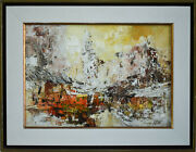Abstract Painting Vintage Artwork Canadian Artist William Allister 1919-2008