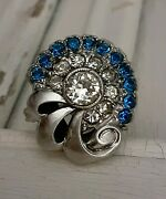 Antique Blue White Rhinestone Bouquet Cocktail Ring Size 7.5 Sterling Silver Joy