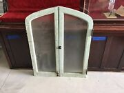 """Awesome Antique Painted Arch Windows Original Textured Glass 41 5/8"""" X 32"""" Super"""