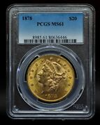 1878 Pcgs Ms61 20 Gold Liberty Double Eagle [051dud]