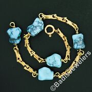 Vintage 18k Gold Textured Link W/ Tumbled Natural Turquoise Stone Chain Bracelet