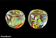 2 Paperweight Candleholders / Tropical Fish Aquarium Art Glass Pre-owned