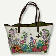 Etro 725 White Paisley Multicolor Floral Butterfly Tote With Pouch Nwot