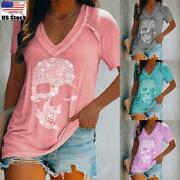 ⭐plus Size Women V-neck T-shirt Tops Ladies Summer Skull Casual Loose Blouse Tee