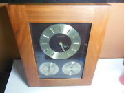 Vintage Airguide Solid Mahogany Clock Barometer Thermometer Humidity Mid Century