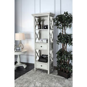Wooden Pier Stand With 2 Drawers And 3 Open Shelves, Antique White