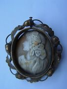 Cameo Over Stone Gemstone With Frame Of Gold And Buckle In The Back