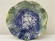 Plate Pottery Studio Art Work Handmade Blend Of Blue Yellows And Greens Signed