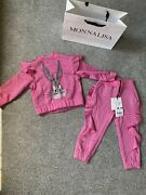 Baby Girl Age 2 Monnalisa Pink Bugs Bunny Tracksuit Outfit New Genuine Gift Bag